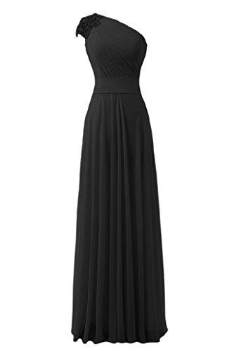 sunvary hecha a mano flores Empire de la cintura One-Shoulder gasa fiesta fiesta de vestido de fiesta negro