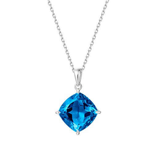 Carleen14K Solid White Gold Solitaire 6.2ct Blue Topaz Pendant Necklace for Women Girls