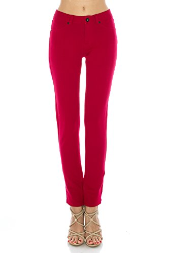 Poplooks Women's Super Comfy Stretch Pull-On Casual Mid Rise Knit Jegging Pants (XX-Large, Navy) ()