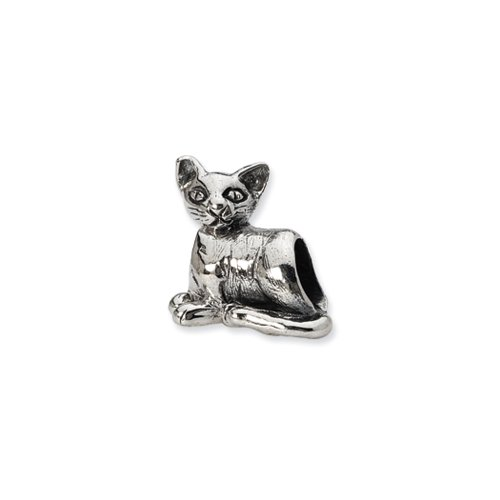 Sterling Silver oriental Cat Bead Charm by The Black Bow