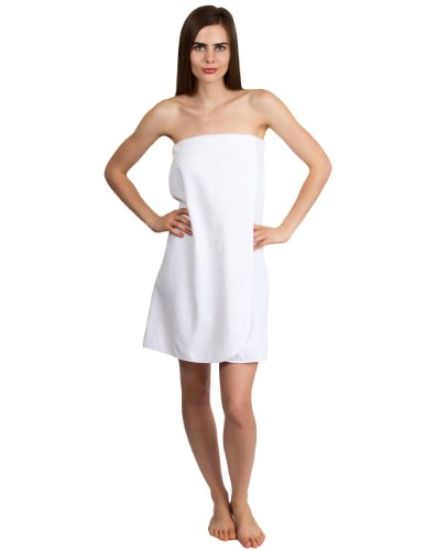 TowelSelections Women's Wrap, Shower & Bath, Terry Spa Towel Large White - Loop Terry Shower Wrap