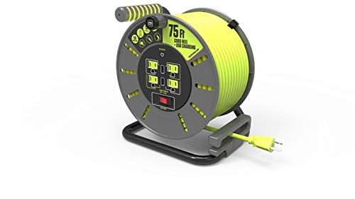 Masterplug Large Open Reel with 2-USB Ports, 75ft 14AWG
