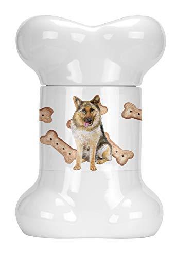 Caroline's Treasures CK2234BSTJ German Shepherd Bone Shaped Treat Jar, 9 in in, Multicolor