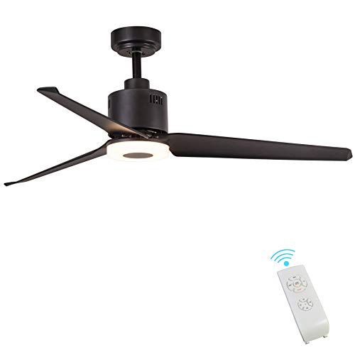 Indoor Ceiling Fan Light Fixtures - FINXIN FXCF10 Black Bronze Remote LED 52 Ceiling Fans For Bedroom,Living Room,Dining Room Including Motor,3-Blades,Remote Switch