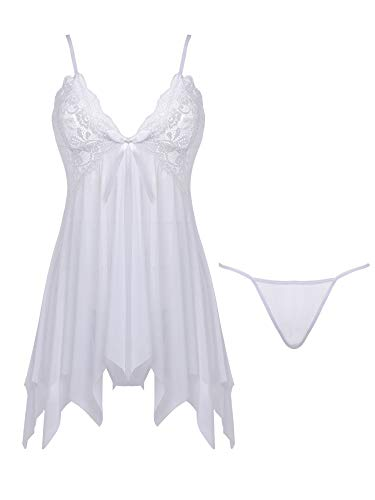 Joyaria Women's Sexy Lace Lingerie Set Sheer Babydoll Mesh Nighties Outfits (White, ()