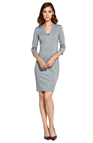 Ärmeln Abendkleid 3 Kleid 4 mit Nife Grau Businesskleid UY5FwBAxq