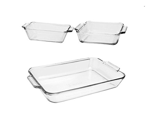 Anchor Hocking Oven Basics Glass Bakeware Set with Casserole Dish, Pie Plate, Measuring Cup, Mixing Bowl, and Custard Cups with Lids 31 2BaOW7 aRL