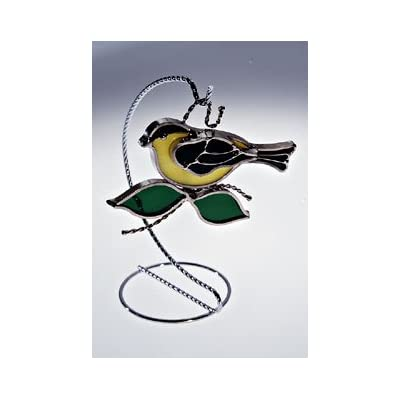 Goldfinch Stained Glass Suncatcher - Silver Finish (Stand NOT Included) : Garden & Outdoor