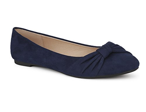 MaxMuxun Navy Women Shoes Faux Suede Round Toe Slip On Comfort Ballet Flats Size 5