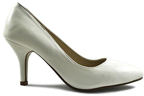 Damen Kunstleder Mid Heel Pumps White Shiny Patent