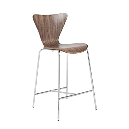 Admirable Amazon Com Brika Home 26 Counter Stool In American Walnut Inzonedesignstudio Interior Chair Design Inzonedesignstudiocom