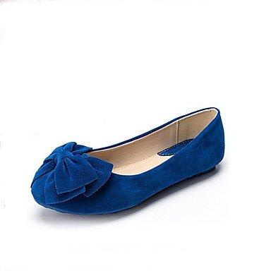 Flat Casual azul zapatos y de dedos soporte mujer amarillo melocotón punta Cómodo bowknotblack Heel los cerrado Flats de elegante rosa redonda en Flats aqxZH