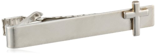 Status Men's Tie Bar Cross On Flat Bar, Silver, One Size by Status