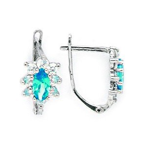 14k White Gold December Blue Marquise Cubic Zirconia Leverback Earrings - Measures 15x8mm by JewelryWeb