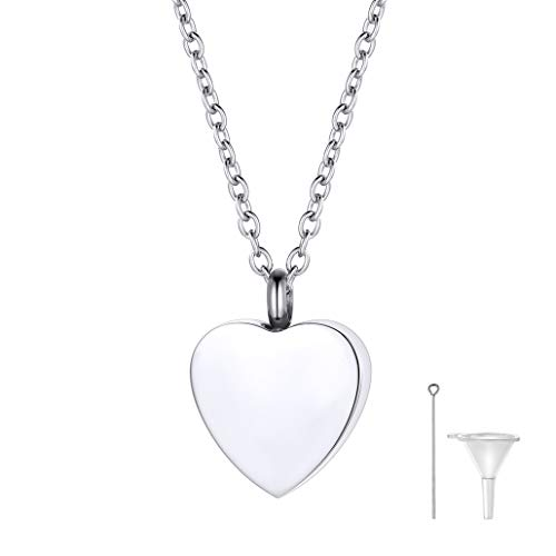 (FaithHeart Cremation Urn Necklace, Women Men Stainless Steel Memento Jewelry, Pet Ashes/Perfume Heart Keepsake Waterproof Pendant Necklace for Memory (Send Gift Box))