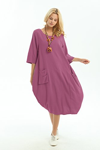 Red Clothing Dress Lantern amp;cotton Plus Y19 Spring Linen Summer Anysize Size Soft Rosy xRZnp