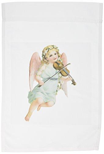 3dRose fl_115408_1 Vintage Victorian Angel Cherub Playing Violin Garden Flag, 12 by 18-Inch ()