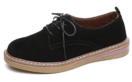 (VenusCelia Women's Classic Oxford Flat Shoe(9 M US,Black))