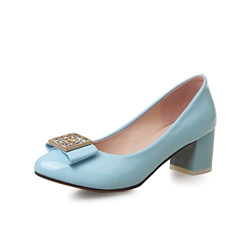 BalaMasa Womens Solid Slip-On Slip-On Imitated Leather Pumps-Shoes Blue XmO9CgFS