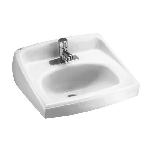 American Standard 0356.041.020 Lucerne Wall-Mount Lavatory Sink with Center Faucet Hole for Exposed Bracket Support, White - Lucerne Small Wall