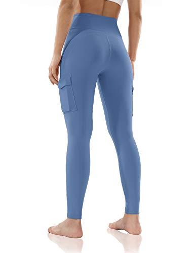 ODODOS Women's High-Rise Cargo Pockets Yoga Pants Full-Length Workout Yoga Cargo Leggings
