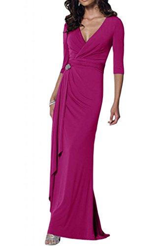 Toscana sposa elegante V-taglio Chiffon stanotte vestimento per madre un'ampia Party ball abiti da sposa viola 42