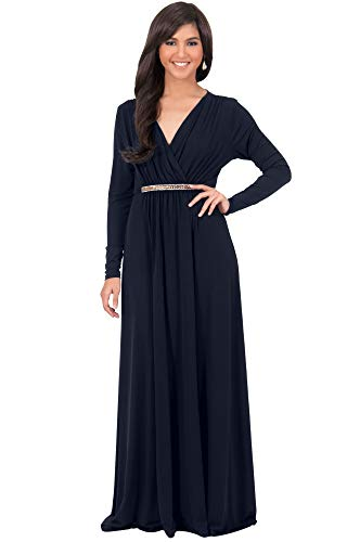KOH KOH Womens Long Sleeve Sleeves Kaftan V-Neck Flowy Formal Wedding Guest Fall Winter Evening Day Empire Waist Abaya Muslim Gown Gowns Maxi Dress Dresses, Dark Navy Blue M 8-10