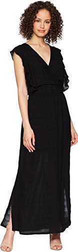 - Michael Stars Women's Plisse Stripe Ruffle Maxi Dress, Black, Extra Small