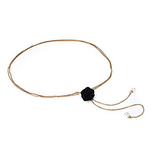Metal Waist Chain Tassel Fashion Rhinestones Versatile Dress Belt Female Fine Decoration Waist Chain (Black)