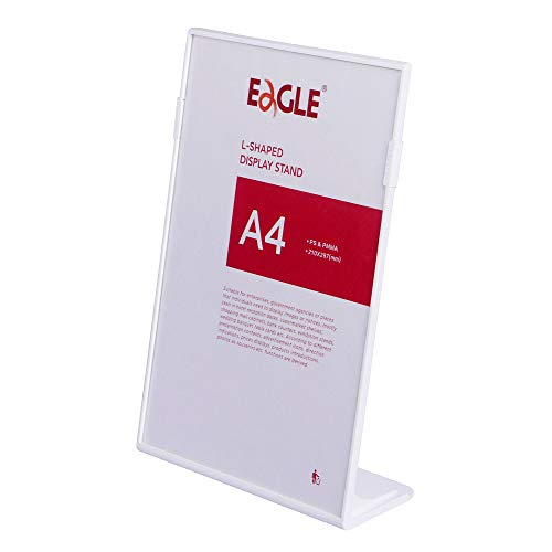 Eagle A4 Size Slant-Back Card Stand Sign Display Holders, Acrylic and Plastic, White, Pack of 1