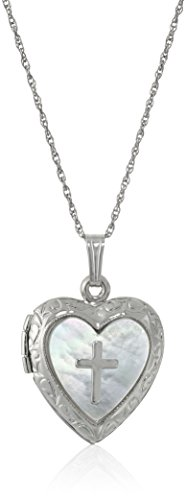 - Sterling Silver Heart and Mother-of-Pearl Heart and Cross Locket Necklace, 18''