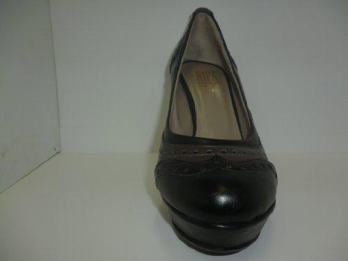 decoltè donna elegante pelle nero/cenere tacco 120 fondo gomma