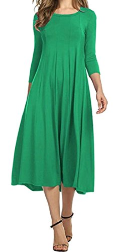 XXS Swing Crewneck Pleated Plain 4 3 Sleeve Women's Green Midi Cromoncent Dress pxRTqPw1T