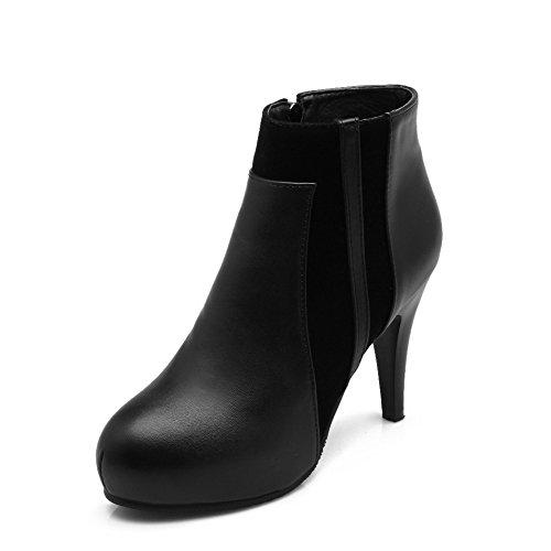schwarz Soft Material Zehe Stiefel geschlossene Damen High Heels AgooLar knöchelhohe Reißverschluss runde pOfSS7