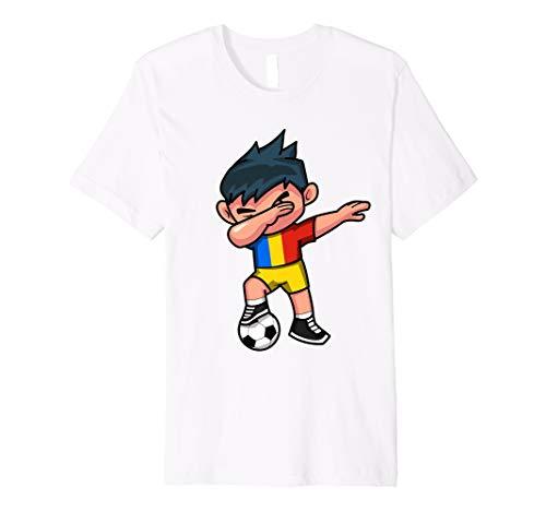 - Dabbing Soccer Boy T Shirt Romania Romanians Football