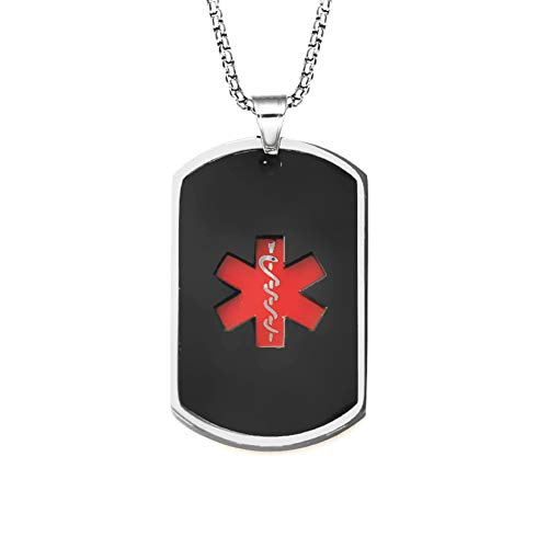 Murinsar Stainless Steel Medical Alert Nut Penicillin Allergy Awareness ID Necklace Personalized Identification Dog Tag Military Pendant for Women Men,Emergency SOS Life Saver for Adults,Black ()