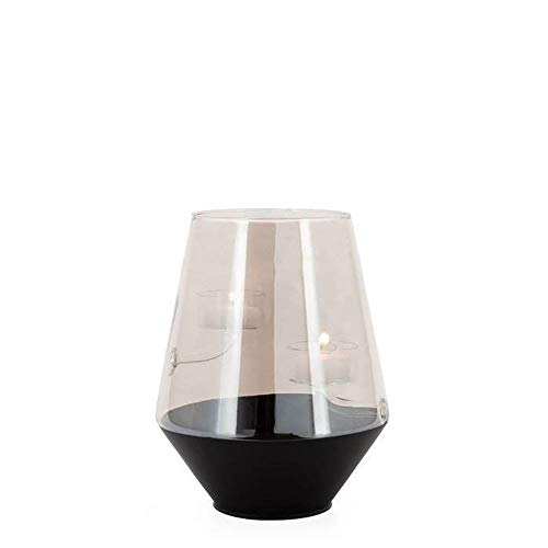Torre & Tagus Onyx Base Smoke Glass Curve Duo Tealight Holder