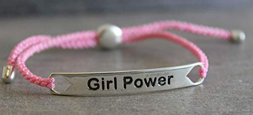 Sterling Silver Girl Power 925 Bracelet with Lucky Pink Rope Christmas Gifts for Her Women Empowerment (Rope Inspirations)