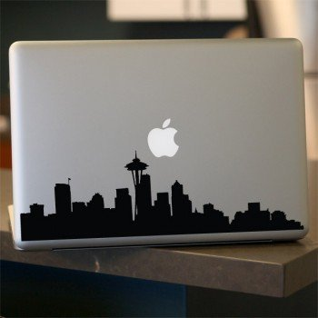 Seattle Skyline Decal, Vinyl Sticker, for Car Window, Laptop, WHITE 15
