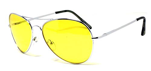 Vision World Eyewear - Colorful Silver Metal Aviator With Color Lens Sunglasses (Yellow lens)