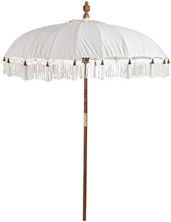 Tousmesmobili - Sombrilla de algodón Blanco con Flecos, Talla M, 180 x 180 x 245 cm: Amazon.es: Hogar