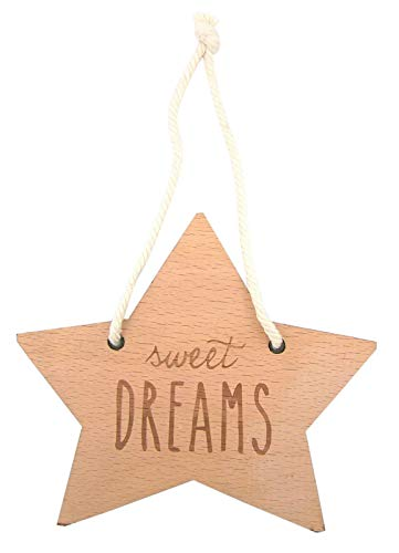 Stephan Baby Hanging Beechwood Nursery Sign, Star-Shaped Sweet Dreams ()