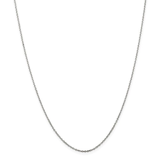 - 1mm Sterling Silver, Solid Cable Chain Necklace, 16 Inch
