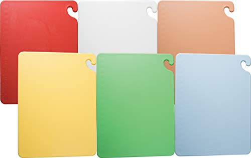 San Jamar CB1824KC 6 Piece Cut-N-Carry Co-Polymer Board System Set with Color Coding Chart, 24