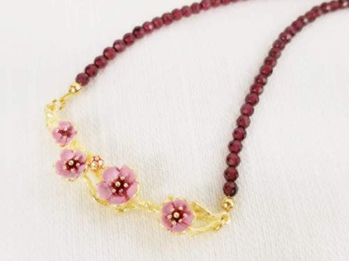 Cherry Blossom Choker - Hand Painted Pink Flower Necklace w/Garnet