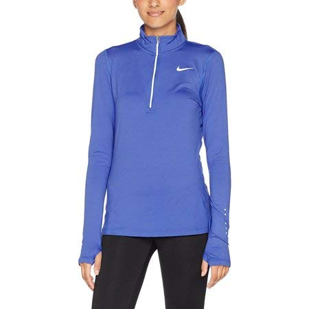 NIKE Womens Reflective Stretch 1/4 Zip Pullover,Light Photo Blue,Small
