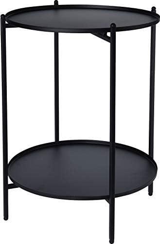 Spetebo Mesa Auxiliar de Metal Negro 50 x 35 cm – 2 estantes ...