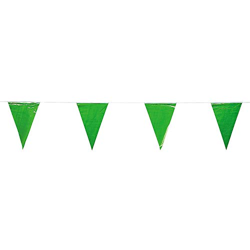 Fun Express - Green Pennant Banner, (12 Inches) (1-Pack) ()