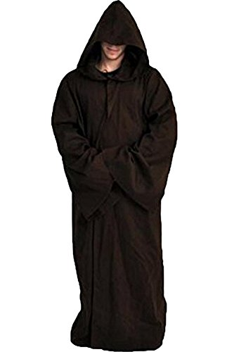 Cosplaysky Men Tunic Hooded Robe Halloween Costume Knight Cloak (Brown, Large) -