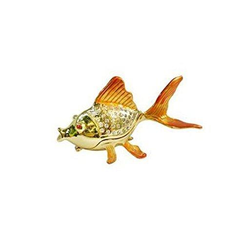 SuperToBuy Golden Fish-Decorative Bejeweled Crystal Diamond Jewelry Trinket Box JF1997